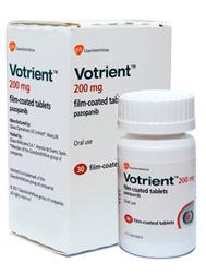 Вотриент (Pazopanib) - противоопухолевый препарат таргетной терапии. Применяется для лечения почечно-клеточного рака и саркомы мягких тканей.